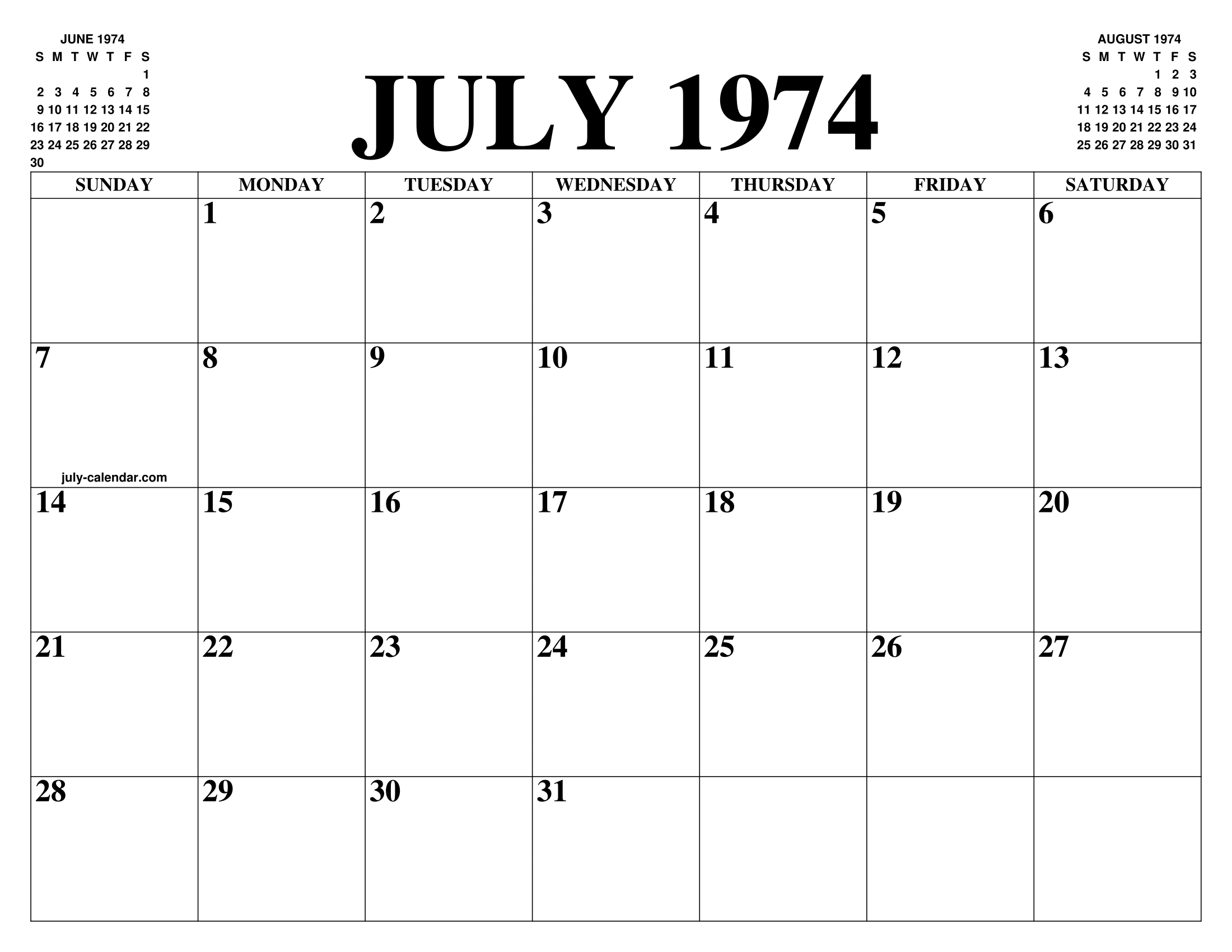 Calendario 1974.July 1974 Calendar Of The Month Free Printable July