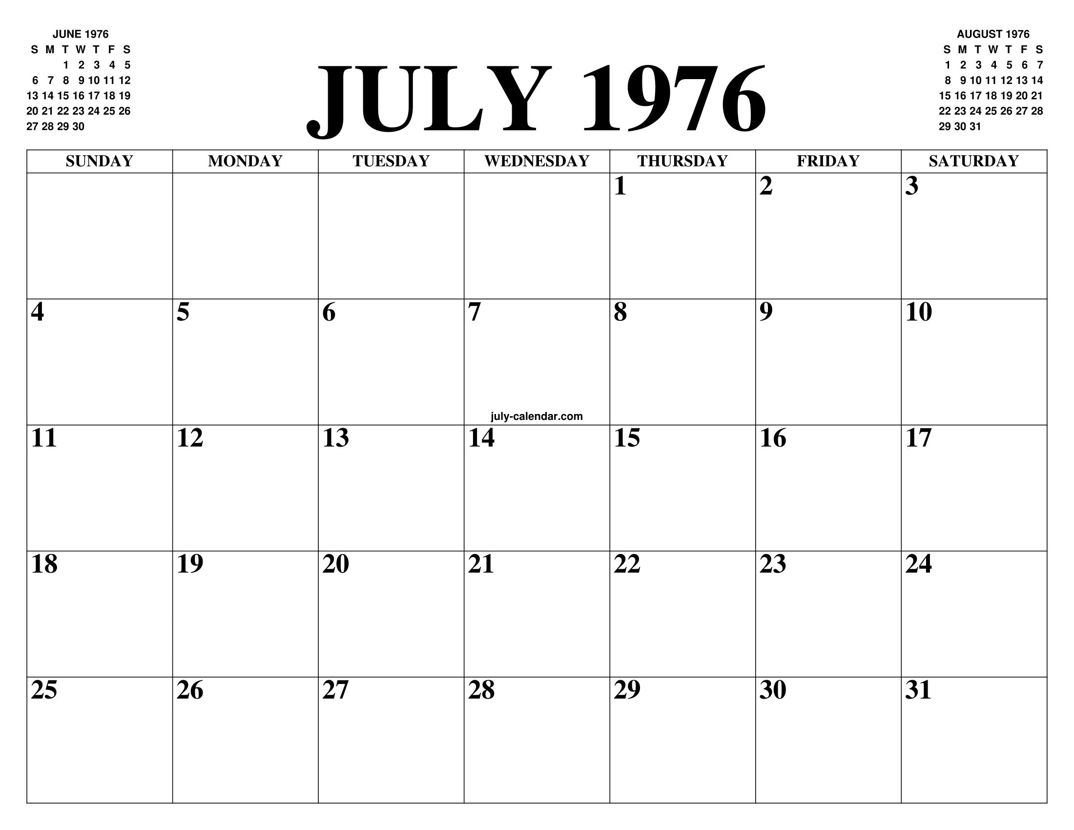 Calendario Julio 1976.July 1976 Calendar Of The Month Free Printable July