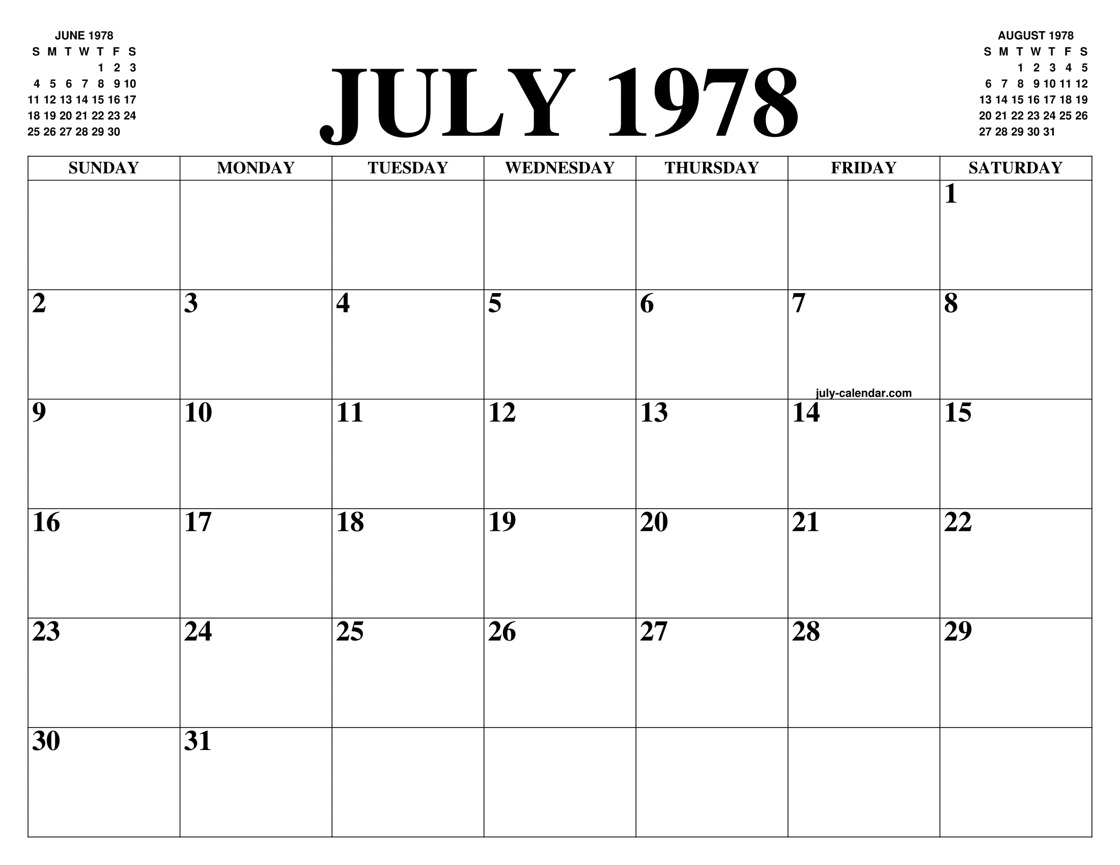 1978 Calendario.July 1978 Calendar Of The Month Free Printable July