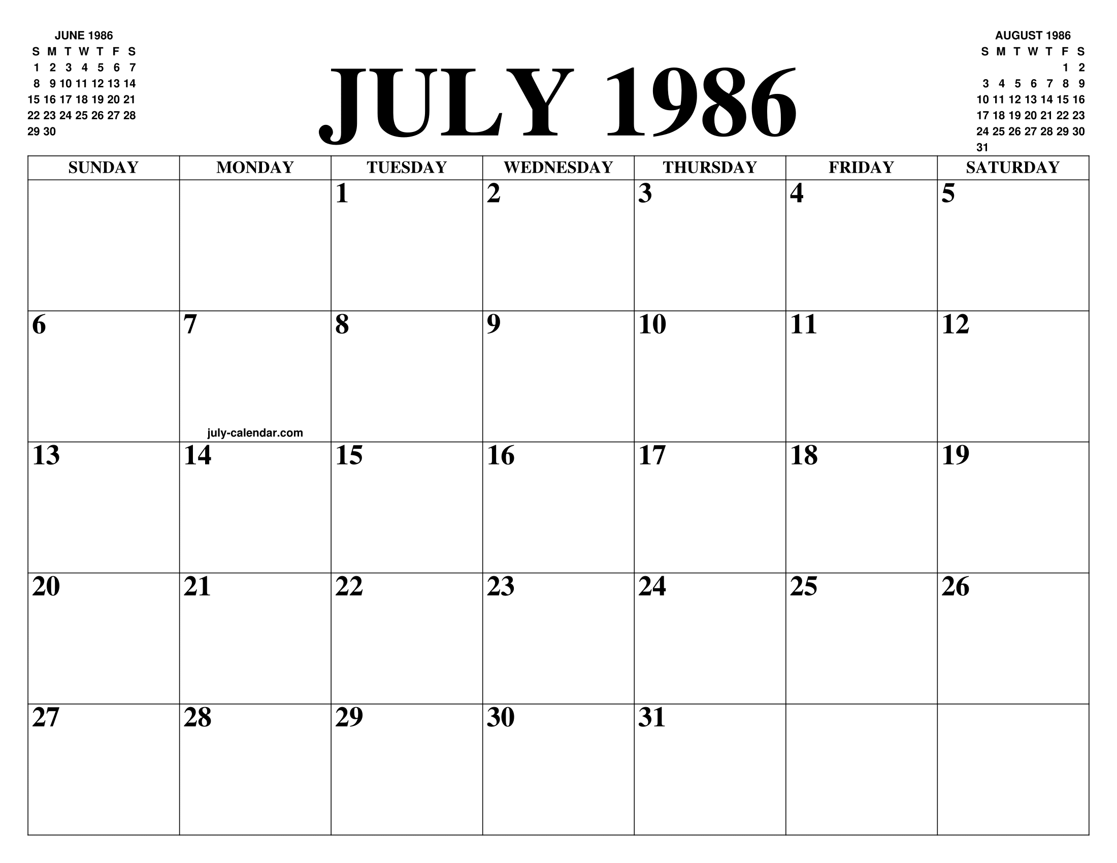 Calendario 1986.July 1986 Calendar Of The Month Free Printable July