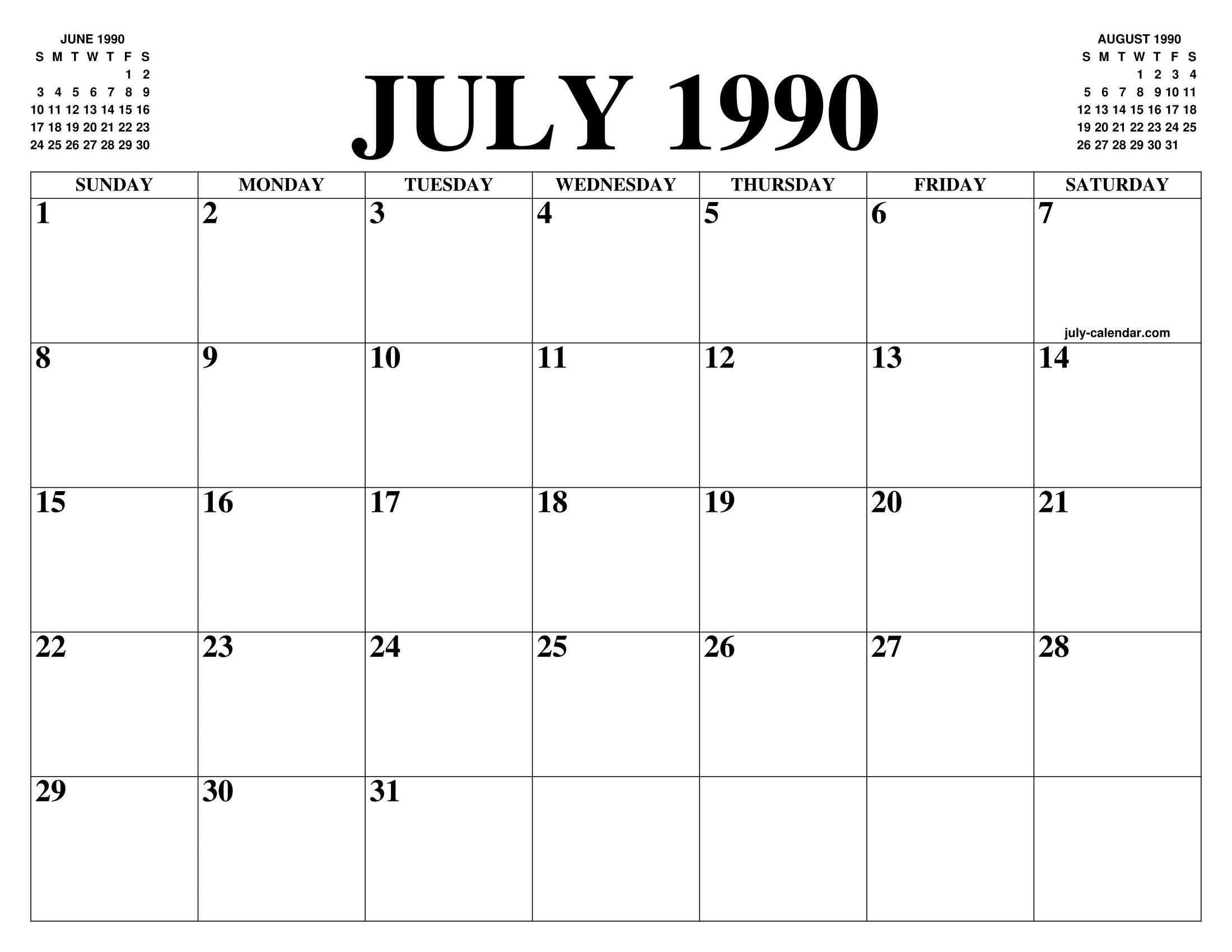 1990 Calendar.July 1990 Calendar Of The Month Free Printable July Calendar Of The