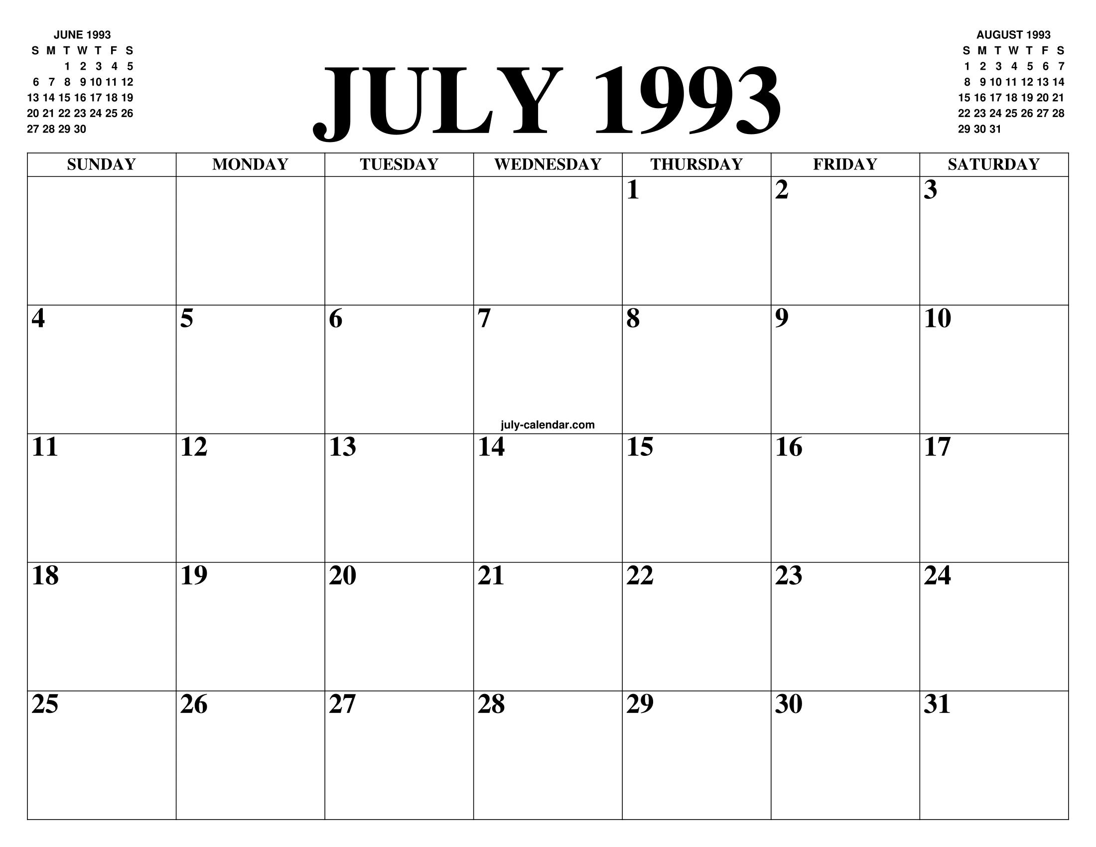Calendar July 1993 Www Topsimages Com