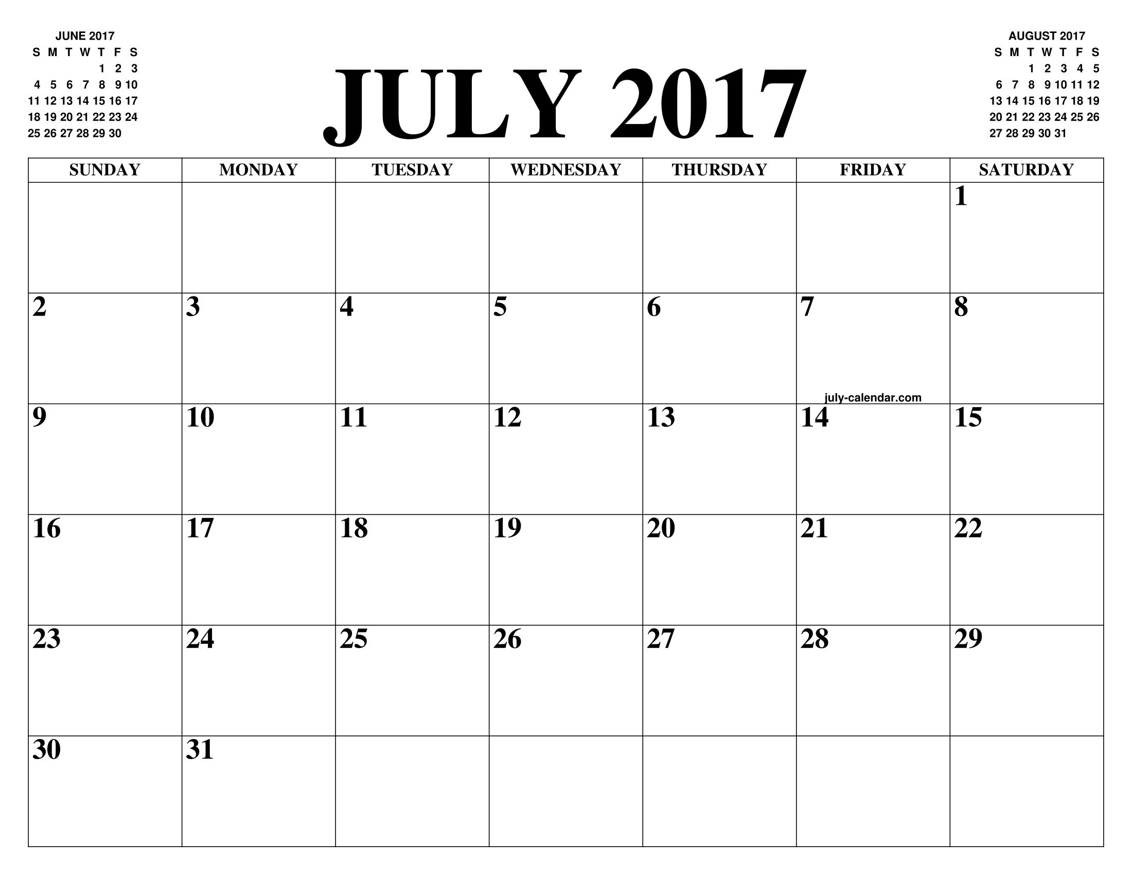 JULY 2017 CALENDAR OF THE MONTH: FREE PRINTABLE JULY