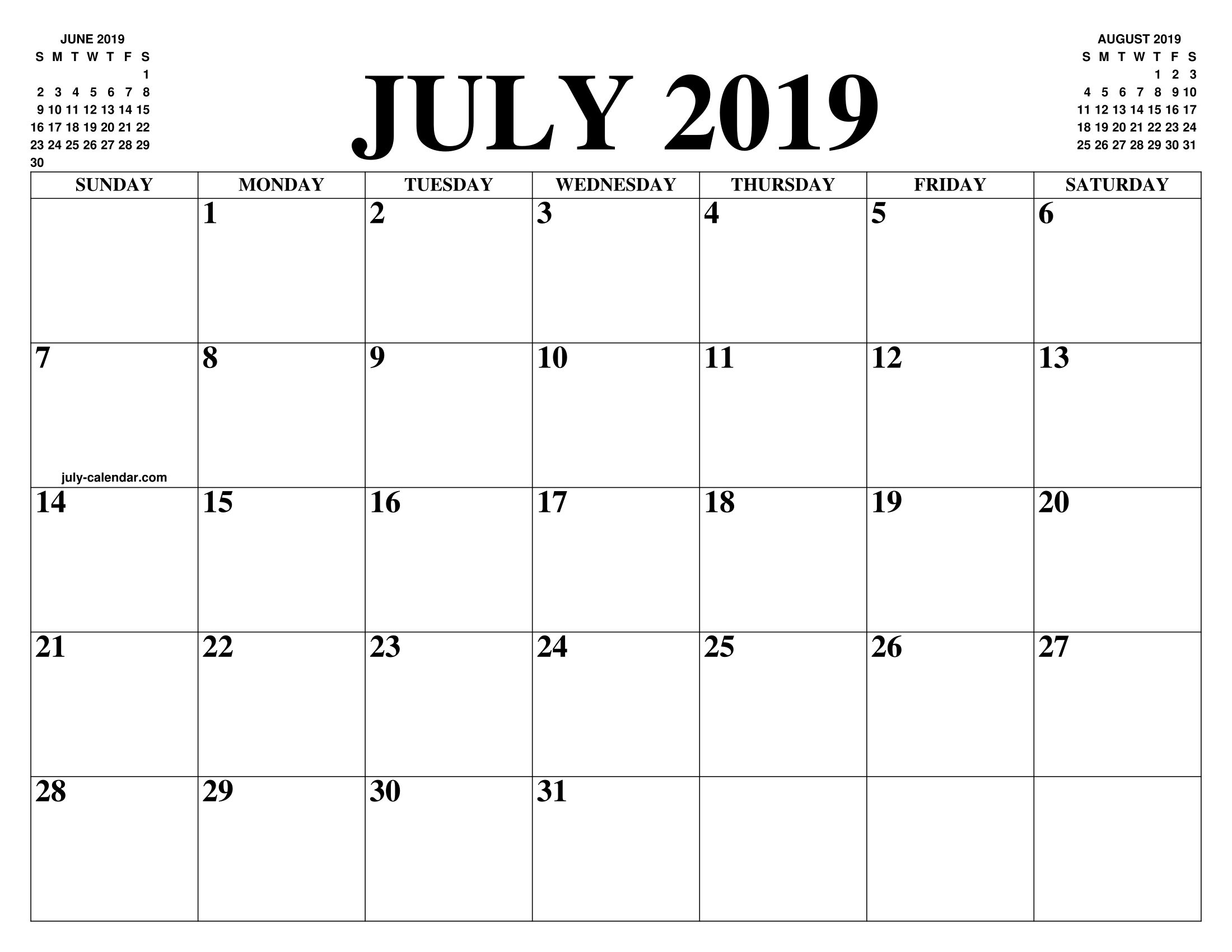 Calendario 20 18.July 2019 2020 Calendar Of The Month Free Printable July