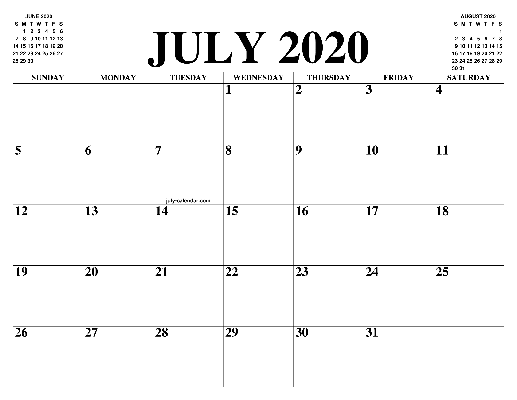 Printable Calendar July 2020.July 2020 Calendar Of The Month Free Printable July Calendar Of The