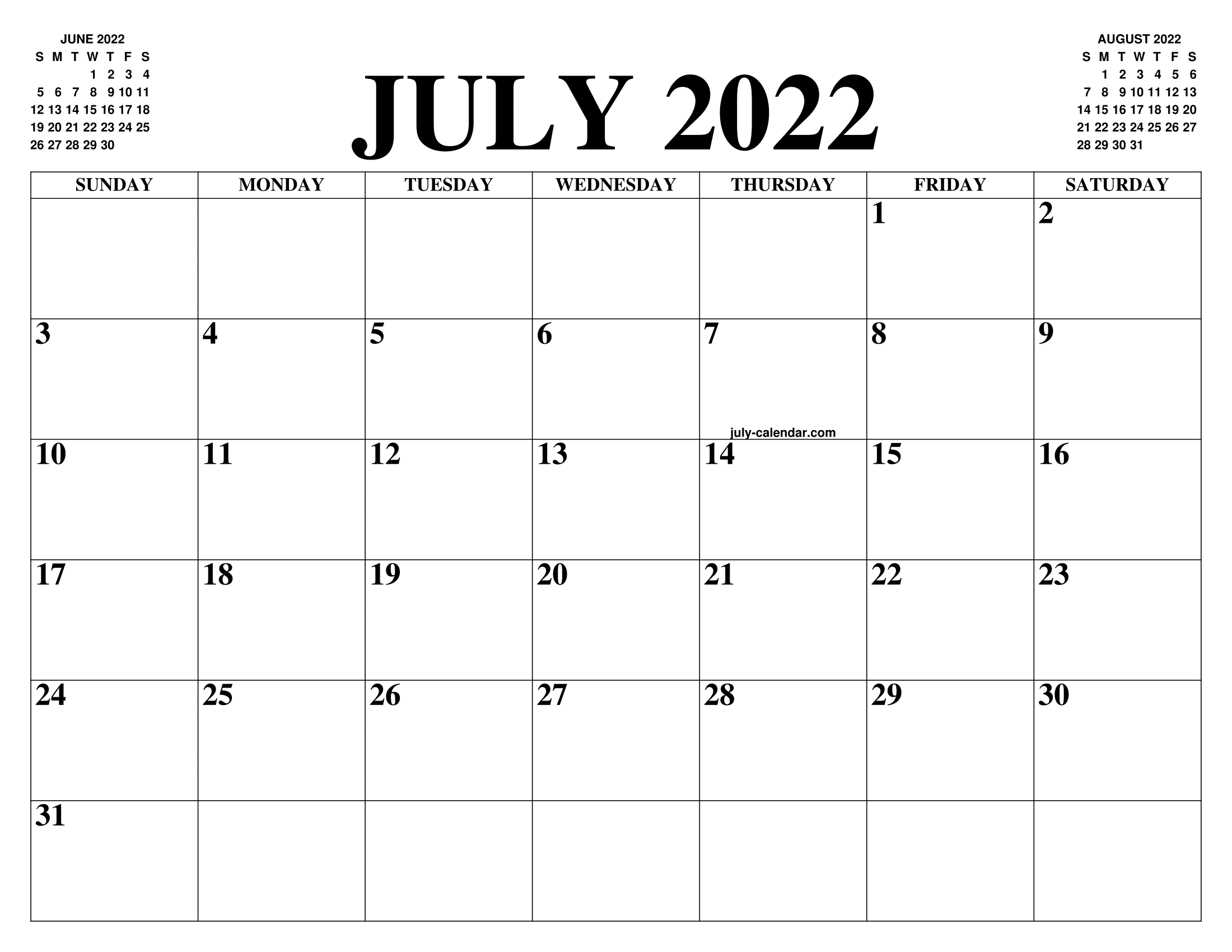 Calendar 2022 July.July 2022 Calendar Of The Month Free Printable July Calendar Of The Year Agenda